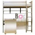 Un lit surélevé sous lequel glisser aisément un bureau enfant…